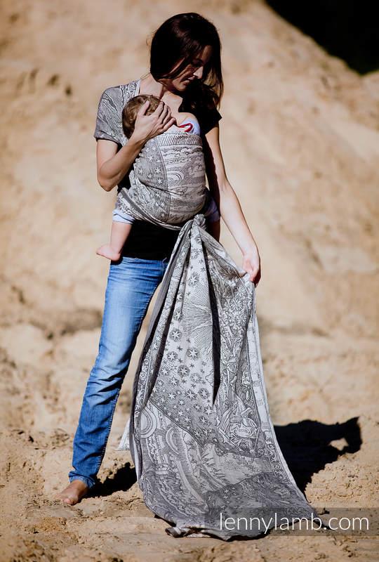 Żakardowa chusta do noszenia dzieci, bawełna - Na Krańcu Świata Czarny z Kremem - rozmiar XS (drugi gatunek) #babywearing