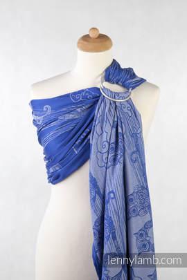 Żakardowa chusta kółkowa do noszenia dzieci, bawełna, ramię bez zakładek - Sowy Bubo Niebieskie z Białym (drugi gatunek)