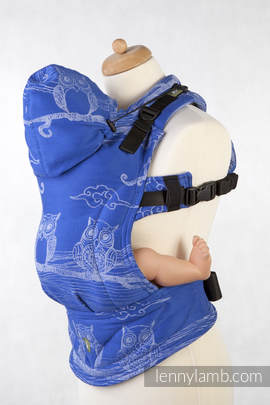 Ergonomic Carrier, Baby Size, jacquard weave 100% cotton - wrap conversion from BUBO OWLS Blue & White - Second Generation (grade B)