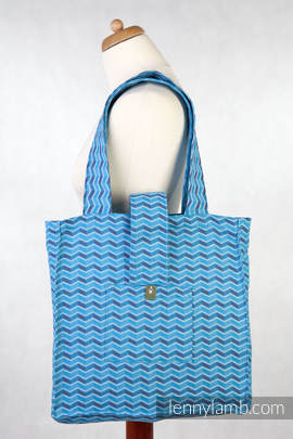 Shoulder bag - 100% cotton - ZIGZAG TURQUOISE & PURPLE - standard size 37cmx37cm