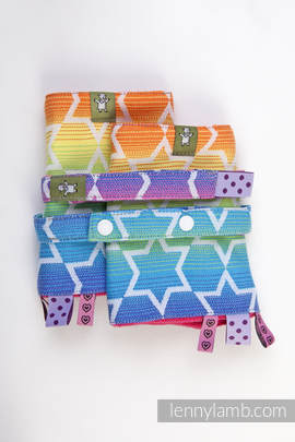 Drool Pads & Reach Straps Set, (100% cotton) - RAINBOW STARS