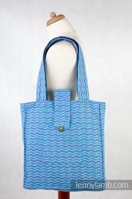 Shoulder bag - 100% cotton - ZIGZAG TURQUOISE & PINK - standard size 37cmx37cm