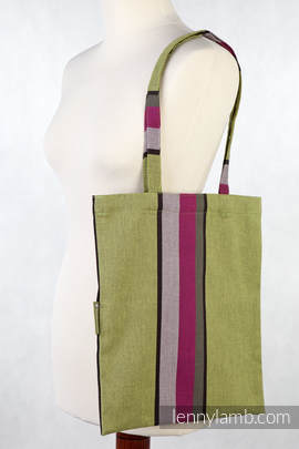 Shopping bag made of wrap fabric (100% cotton) - LIME & KHAKI