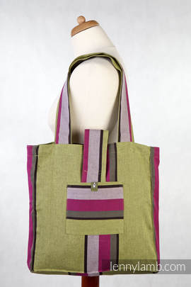 Shoulder bag made of wrap fabric (100% cotton) - LIME & KHAKI - standard size 37cmx37cm