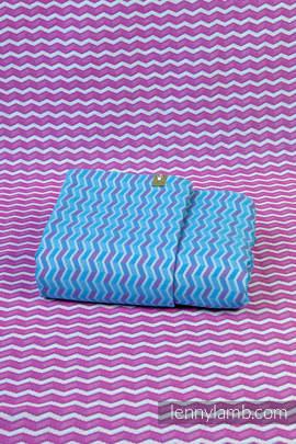 Baby Wrap, Jacquard Weave (100% cotton) - ZIGZAG TURQUOISE & PINK - size XS (grade B)