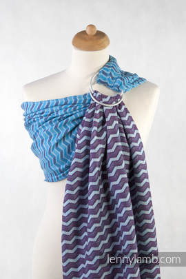 Ringsling, Jacquard Weave (100% cotton) - with gathered shoulder - ZigZag Turquoise & Purple
