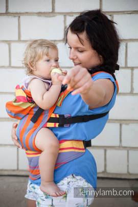 Nosidełko Ergonomiczne z tkaniny skośnokrzyżowej 100% bawełna , Baby Size, POMARAŃCZOWA ZUMBA - Druga Generacja.