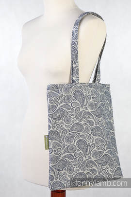 Shopping bag made of wrap fabric (100% cotton) - PAISLEY NAVY BLUE & CREAM