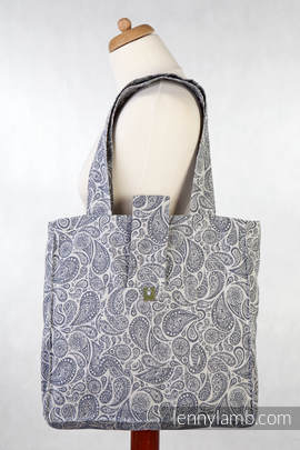 Shoulder bag made of wrap fabric (100% cotton) - PAISLEY NAVY BLUE & CREAM - standard size 37cmx37cm