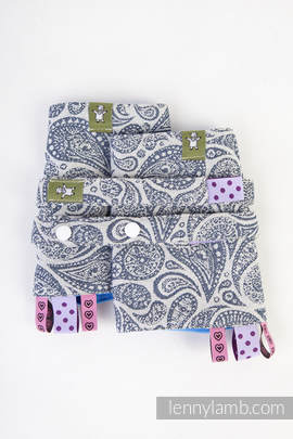 Drool Pads & Reach Straps Set, (100% cotton) - PAISLEY NAVY BLUE & CREAM