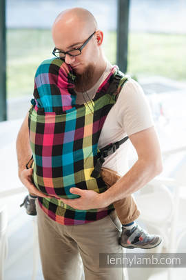 Ergonomic Carrier, Toddler Size, diamond weave 100% cotton - wrap conversion from DIAMOND PLAID - Second Generation