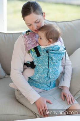 Nosidełko Ergonomiczne z tkaniny żakardowej 100% bawełna , Toddler Size, TURKUS Z KREMEM, Druga Generacja