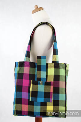 Shoulder bag made of wrap fabric (100% cotton) - DIAMOND PLAID - standard size 37cmx37cm