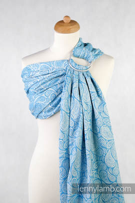 Ringsling, Jacquard Weave (100% cotton) - Paisley Turquoise & Cream (grade B)