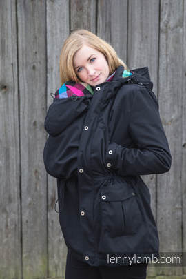 Parka Babywearing Coat - size M - Black & Diamond Plaid (grade B)