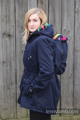Parka Babywearing Coat - size L - Navy Blue & Diamond Plaid