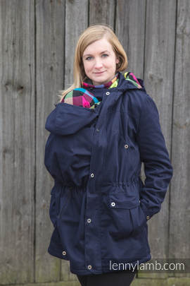 Parka Babywearing Coat - size 3XL - Navy Blue & Diamond Plaid