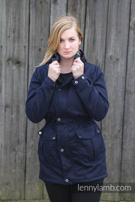 Parka Coat - size M - Navy Blue & Diamond Plaid