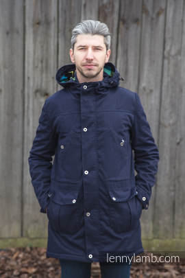 Parka Coat - size XXL - Navy Blue & Diamond Plaid