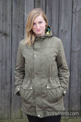 Parka Coat - size L - Khaki & Customized Finishing