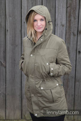 Parka Coat - size M - Khaki & Diamond Plaid