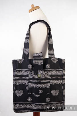Torba na ramię z materiału chustowego, (100% bawełna) - KORONKA GLAMOUR - uniwersalny rozmiar 37cmx37cm