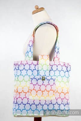 Shoulder bag made of wrap fabric (100% cotton) - RAINBOW STARS Reverse - standard size 37cmx37cm