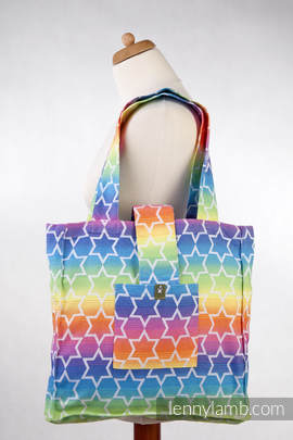 Shoulder bag made of wrap fabric (100% cotton) - RAINBOW STARS - standard size 37cmx37cm