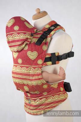 Nosidełko Ergonomiczne z tkaniny żakardowej 100% bawełna , Toddler Size, Sorbetowa Koronka, Druga Generacja