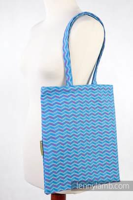 Shopping bag 100% Cotton - ZIGZAG TURQUOISE & PINK (grade B)