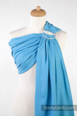 Ringsling, Diamond Weave (100% cotton), with gathered shoulder - Turquoise Diamond (grade B)