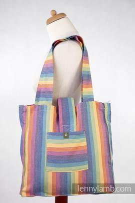 Torba na ramię z materiału chustowego, (60% bawełna, 40% bambus) - TĘCZA - uniwersalny rozmiar 37cmx37cm