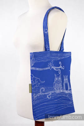 Shopping bag made of wrap fabric (100% cotton) - BUBO OWLS BLUE & WHITE