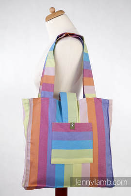 Torba na ramię z materiału chustowego, (100% bawełna) - RAFA KORALOWA- uniwersalny rozmiar 37cmx37cm