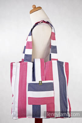 Shoulder bag made of wrap fabric (60% cotton, 40% bamboo) - MARINE - standard size 37cmx37cm