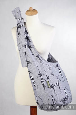 Hobo Bag made of woven fabric, 100% cotton - CRAZY CATS (grade B)