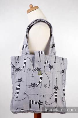 Shoulder bag made of wrap fabric (100% cotton) - CRAZY CATS - standard size 37cmx37cm (grade B)