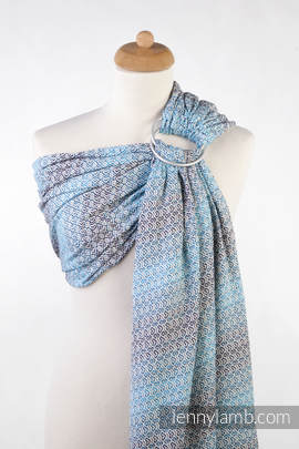 Ringsling, Jacquard Weave (100% cotton), with gathered shoulder - LITTLE LOVE - BREEZE