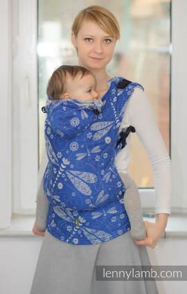 Nosidełko Ergonomiczne z tkaniny żakardowej 100% bawełna , Toddler Size, WAŻKI NIEBIESKI Z BIAŁYM - Druga Generacja