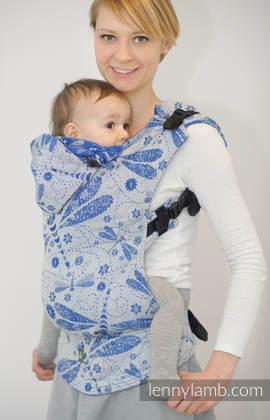 Nosidełko Ergonomiczne z tkaniny żakardowej 100% bawełna , Baby Size,  WAŻKI BIAŁY Z NIEBIESKIM - Druga Generacja