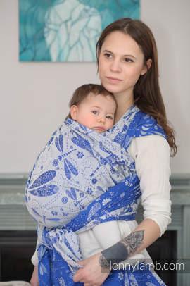 Baby Wrap, Jacquard Weave (100% cotton) - DRAGONFLY BLUE & WHITE - size L