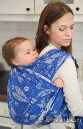 Baby Wrap, Jacquard Weave (100% cotton) - DRAGONFLY BLUE & WHITE - size M (grade B)
