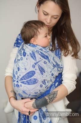 Baby Wrap, Jacquard Weave (100% cotton) - DRAGONFLY BLUE & WHITE - size L (grade B)