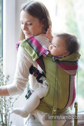 Nosidełko Ergonomiczne z tkaniny skośno krzyżowej 100% bawełna , Baby Size, LIMONKA z KHAKI, Druga Generacja