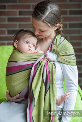 Ring Sling - 100% Cotton - Broken Twill Weave, with gathered shoulder -  Lime & Khaki