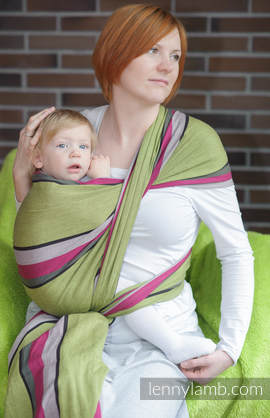 Baby Sling, Broken Twill Weave (100% cotton) - LIME & KHAKI - size XS