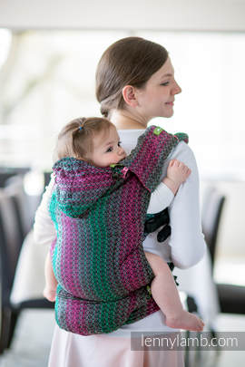 Nosidełko Ergonomiczne z tkaniny żakardowej 100% bawełna , Baby Size, LITTLE LOVE - ORCHIDEA, Druga Generacja