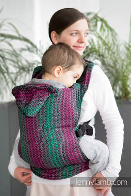 Ergonomic Carrier, Toddler Size, jacquard weave 100% cotton - wrap conversion from LITTLE LOVE - ORCHID, Second Generation