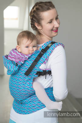 Ergonomic Carrier, Toddler Size, jacquard weave 100% cotton - wrap conversion from ZigZag Turquoise & Pink - Second Generation. (grade B)