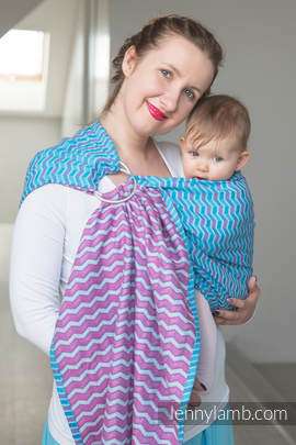 Ringsling, Jacquard Weave (100% cotton) - ZigZag Turquoise & Pink (grade B)